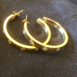 Jewelry - NEW LOVE earrings HOOPS gold color